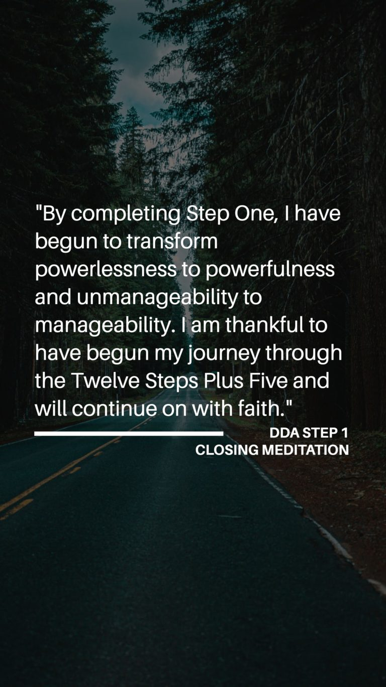 Dual Diagnosis Anonymous - Step 1 - Closing Meditation (Part One)