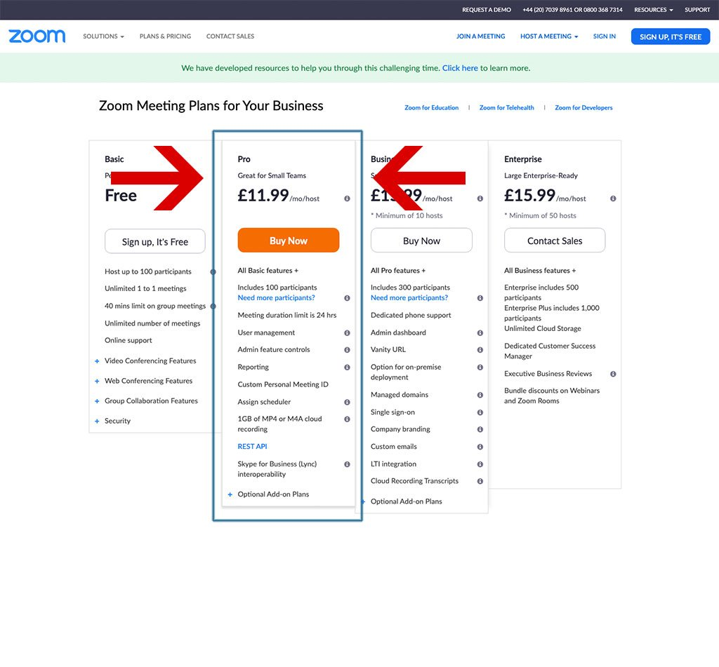How to set up and host an online meeting using Zoom - Screenshot of Zoom Pro Sign-up Page
